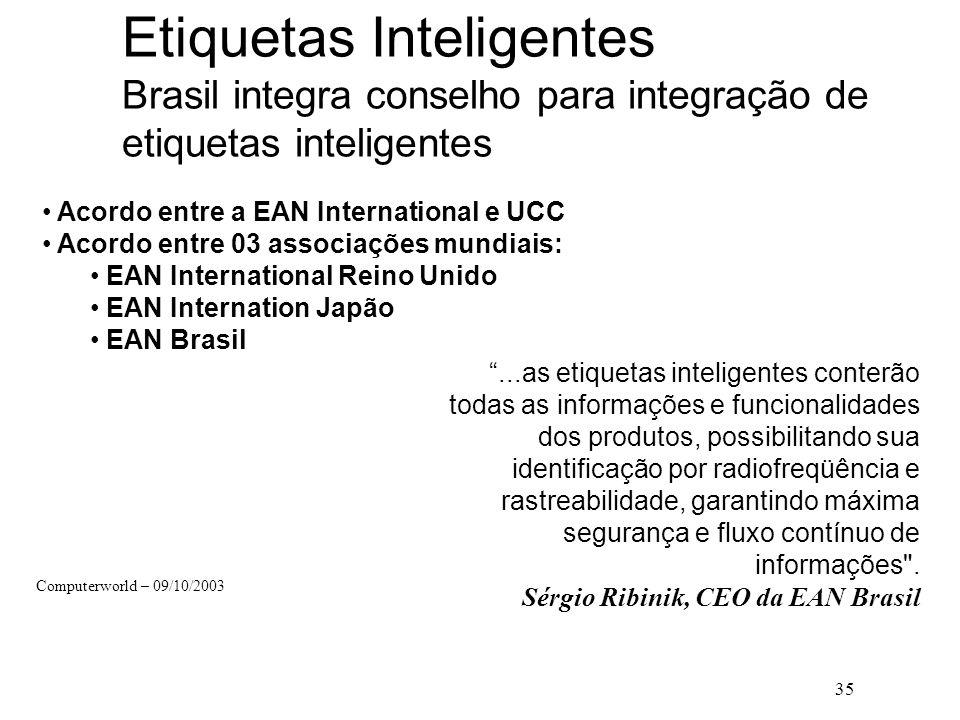 35 Etiquetas Inteligentes Brasil integra conselho para integração de etiquetas inteligentes Acordo entre a EAN International e UCC Acordo entre 03 ass