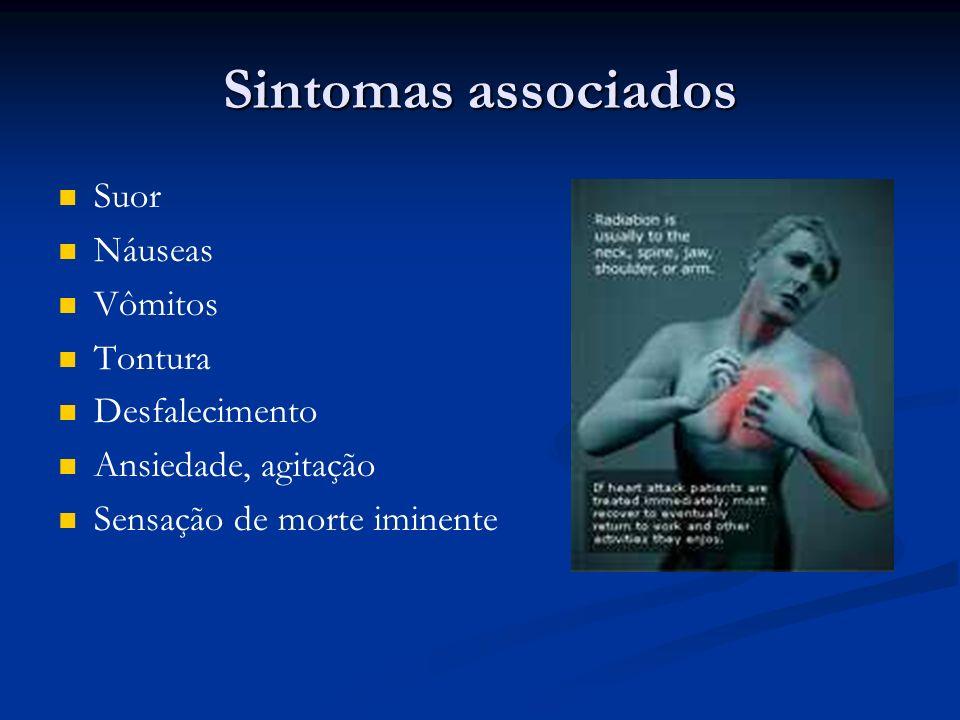 Sintomas associados Suor Náuseas Vômitos Tontura Desfalecimento Ansiedade, agitação Sensação de morte iminente