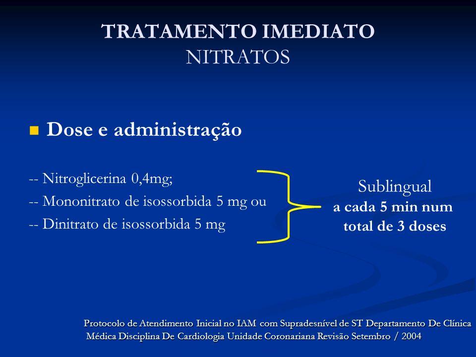 TRATAMENTO IMEDIATO NITRATOS Dose e administração -- Nitroglicerina 0,4mg; -- Mononitrato de isossorbida 5 mg ou -- Dinitrato de isossorbida 5 mg Subl