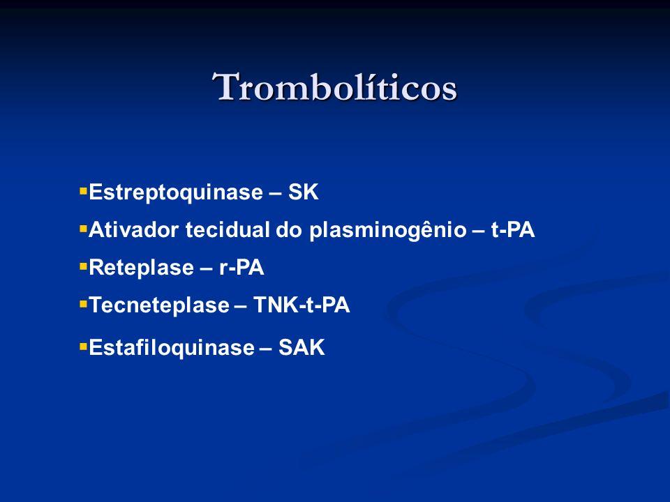 Trombolíticos Estreptoquinase – SK Ativador tecidual do plasminogênio – t-PA Reteplase – r-PA Tecneteplase – TNK-t-PA Estafiloquinase – SAK