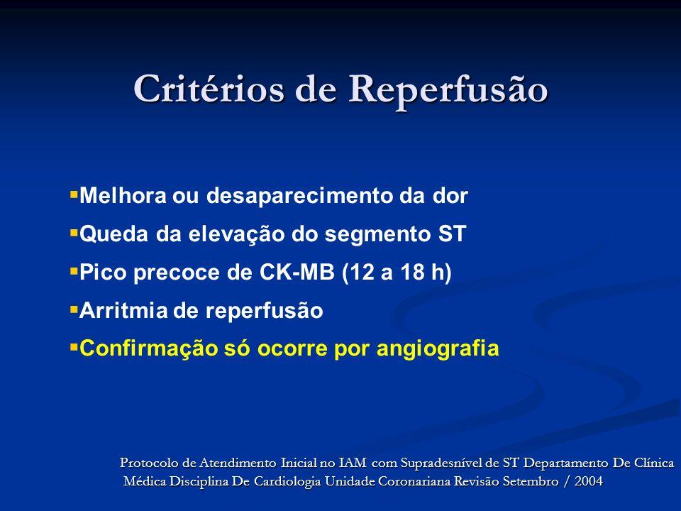 Critérios de Reperfusão Melhora ou desaparecimento da dor Queda da elevação do segmento ST Pico precoce de CK-MB (12 a 18 h) Arritmia de reperfusão Co