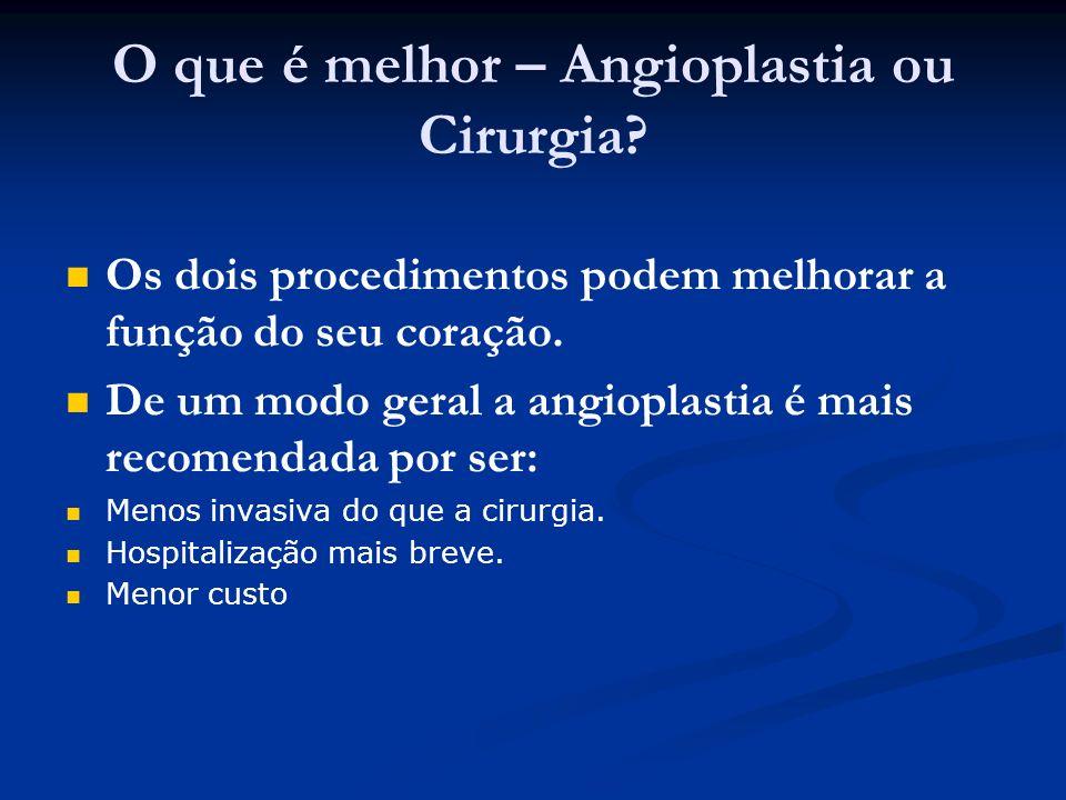 O que é melhor – Angioplastia ou Cirurgia? Os dois procedimentos podem melhorar a função do seu coração. De um modo geral a angioplastia é mais recome