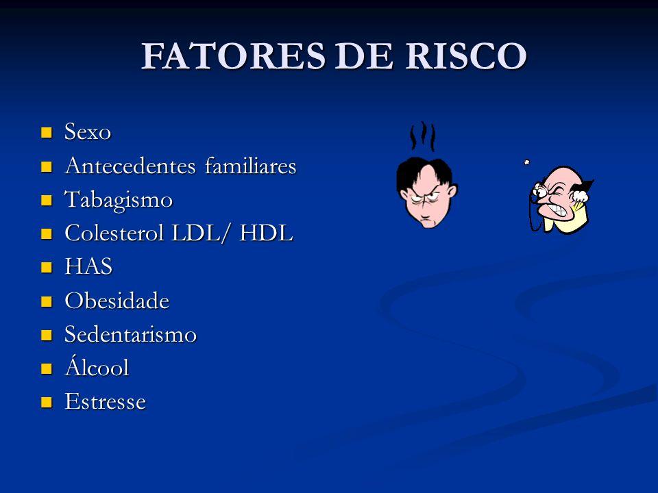 FATORES DE RISCO Sexo Sexo Antecedentes familiares Antecedentes familiares Tabagismo Tabagismo Colesterol LDL/ HDL Colesterol LDL/ HDL HAS HAS Obesida