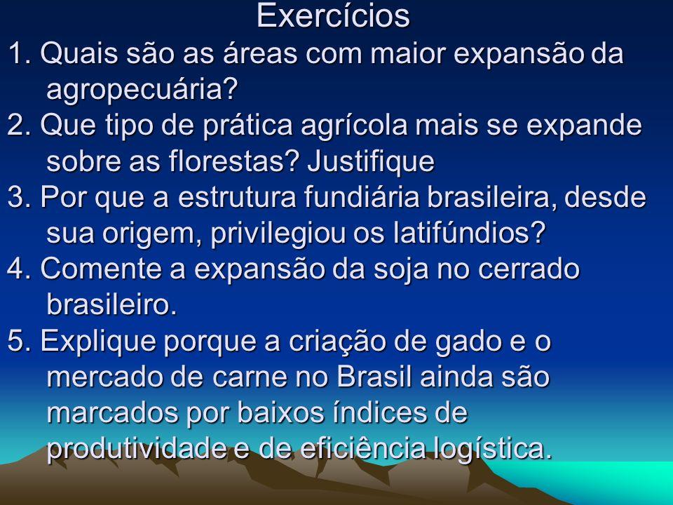 Exercícios 1. Quais são as áreas com maior expansão da agropecuária? 2. Que tipo de prática agrícola mais se expande sobre as florestas? Justifique 3.