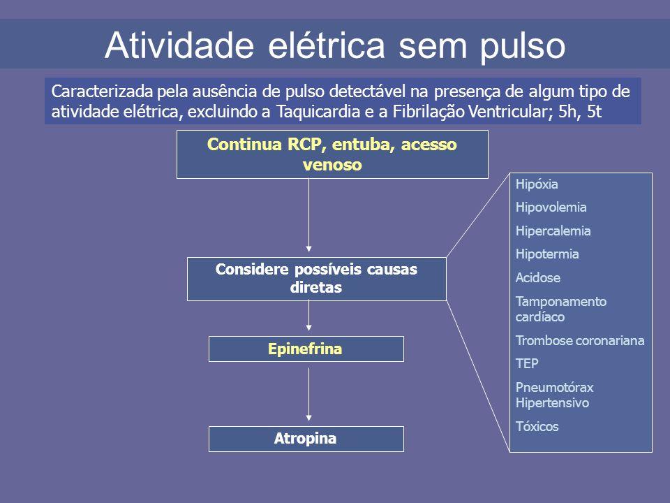 Atividade elétrica sem pulso Continua RCP, entuba, acesso venoso Considere possíveis causas diretas Epinefrina Atropina Caracterizada pela ausência de