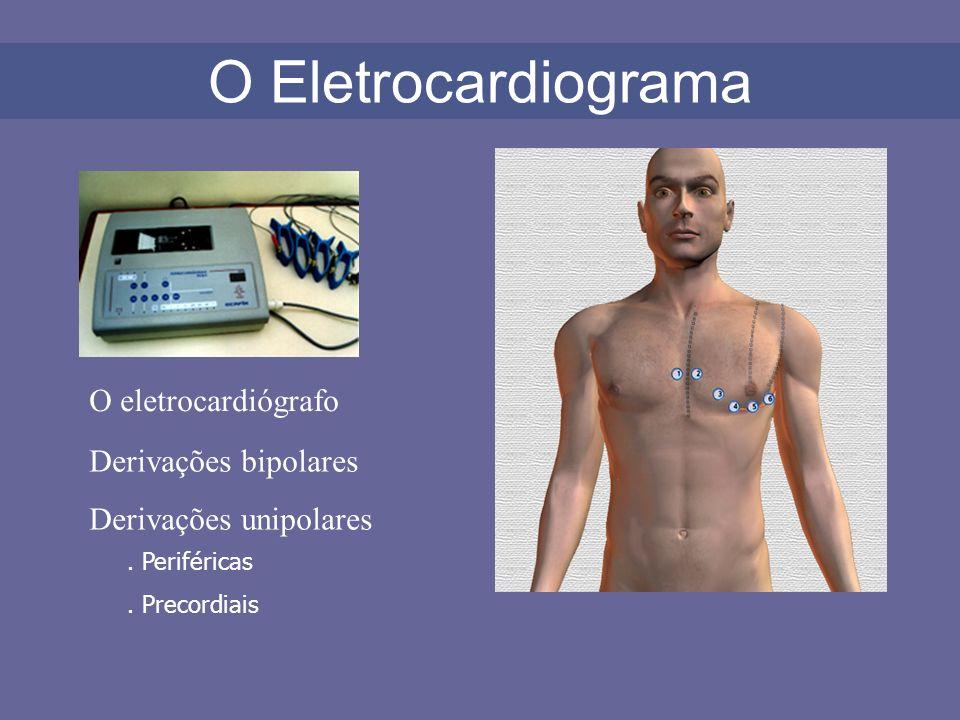 O eletrocardiógrafo O Eletrocardiograma Derivações bipolares Derivações unipolares. Periféricas. Precordiais
