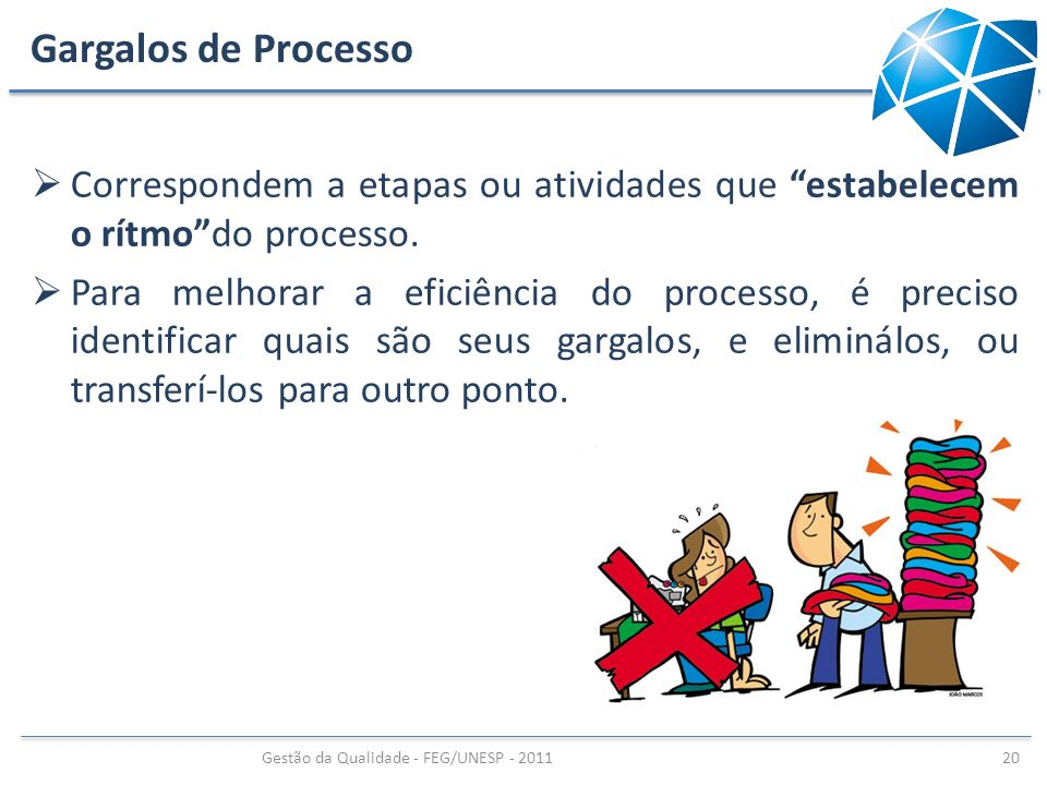 Gargalos de Processo Correspondem a etapas ou atividades que estabelecem o rítmodo processo. Para melhorar a eficiência do processo, é preciso identif