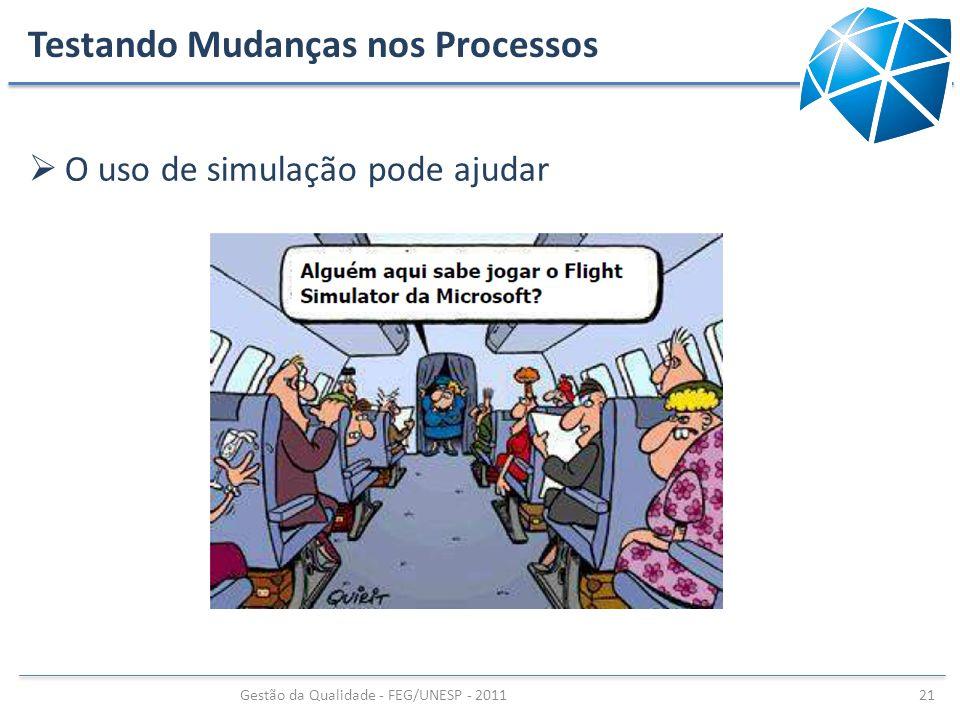 Testando Mudanças nos Processos O uso de simulação pode ajudar Gestão da Qualidade - FEG/UNESP - 2011 21