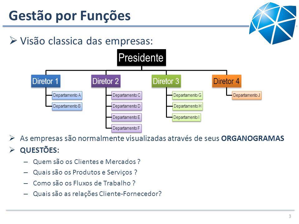 Gestão por Funções Visão classica das empresas: As empresas são normalmente visualizadas através de seus ORGANOGRAMAS QUESTÕES: – Quem são os Clientes