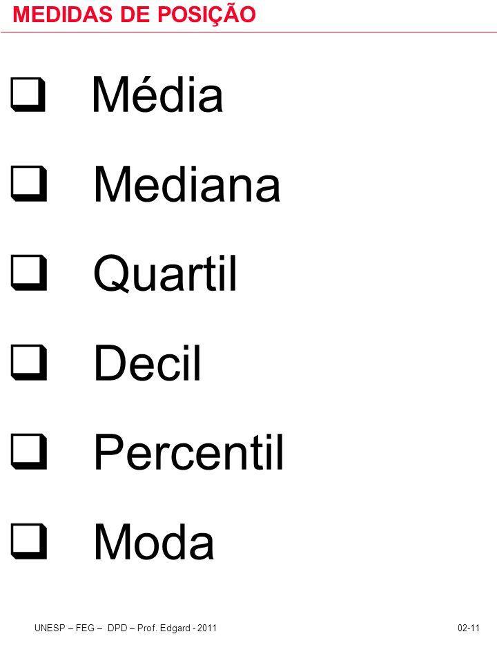 02-11UNESP – FEG – DPD – Prof. Edgard - 2011 MEDIDAS DE POSIÇÃO Média Mediana Quartil Decil Percentil Moda