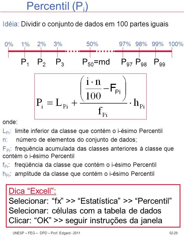 02-29UNESP – FEG – DPD – Prof. Edgard - 2011 Percentil (P i ) Idéia: Dividir o conjunto de dados em 100 partes iguais onde: L Pi : limite inferior da
