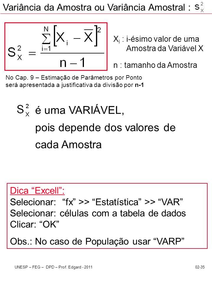 02-35UNESP – FEG – DPD – Prof. Edgard - 2011 X i : i-ésimo valor de uma Amostra da Variável X n : tamanho da Amostra é uma VARIÁVEL, pois depende dos