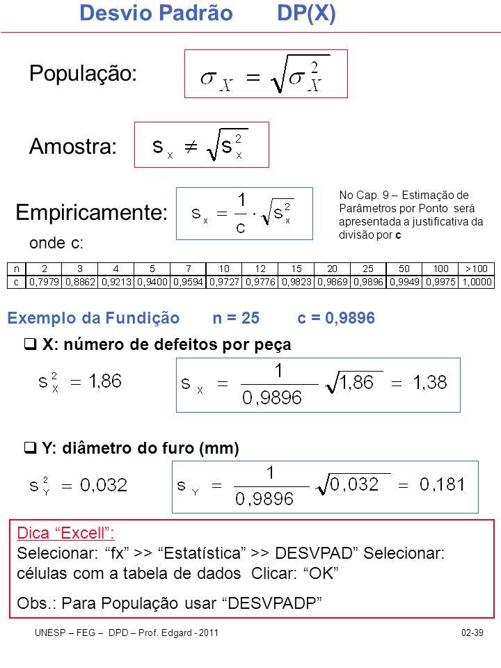 02-39UNESP – FEG – DPD – Prof. Edgard - 2011 Dica Excell: Selecionar: fx >> Estatística >> DESVPAD Selecionar: células com a tabela de dados Clicar: O