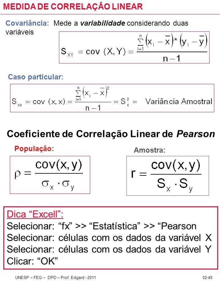 02-49UNESP – FEG – DPD – Prof. Edgard - 2011 MEDIDA DE CORRELAÇÂO LINEAR Covariância: Mede a variabilidade considerando duas variáveis Caso particular
