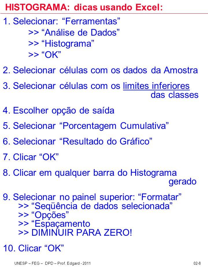 02-8UNESP – FEG – DPD – Prof. Edgard - 2011 HISTOGRAMA: dicas usando Excel: 1. Selecionar: Ferramentas >> Análise de Dados >> Histograma >> OK 2. Sele