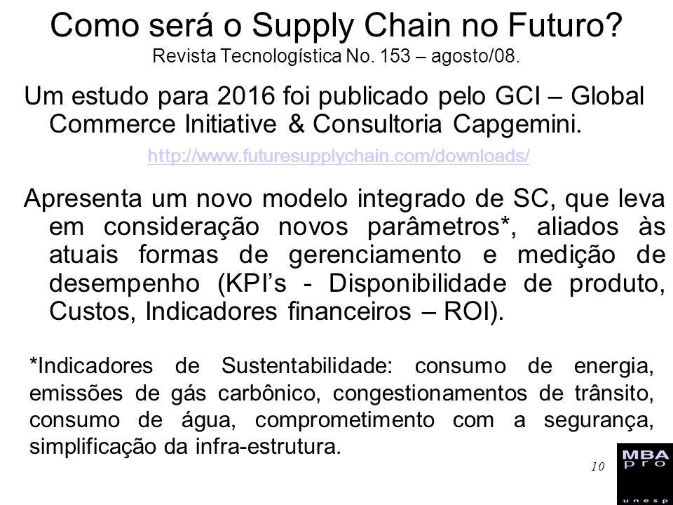 10 Como será o Supply Chain no Futuro? Revista Tecnologística No. 153 – agosto/08. Um estudo para 2016 foi publicado pelo GCI – Global Commerce Initia