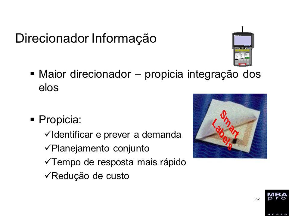 28 Direcionador Informação Maior direcionador – propicia integração dos elos Propicia: Identificar e prever a demanda Planejamento conjunto Tempo de r