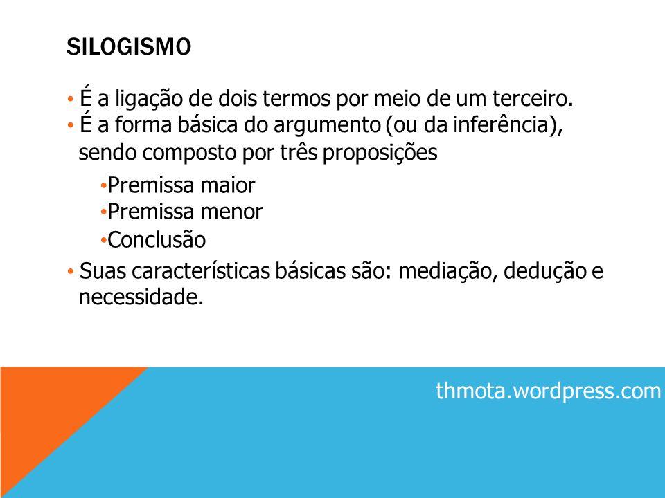 SILOGISMO É a ligação de dois termos por meio de um terceiro. É a forma básica do argumento (ou da inferência), sendo composto por três proposições Pr