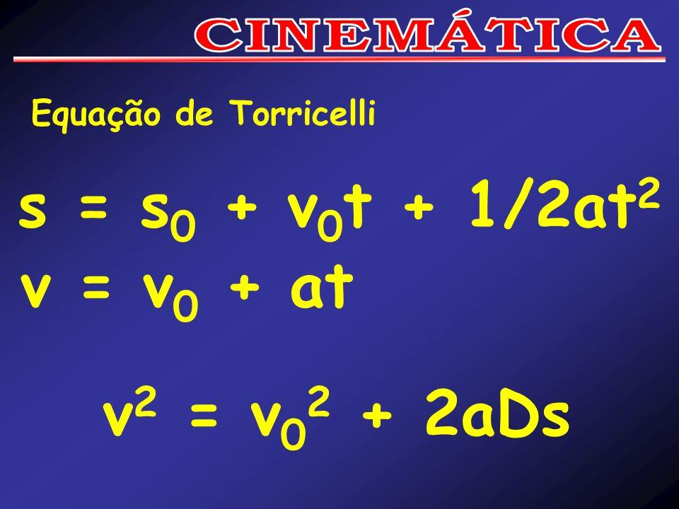 Equação de Torricelli s = s 0 + v 0 t + 1/2at 2 v = v 0 + at v 2 = v 0 2 + 2aDs