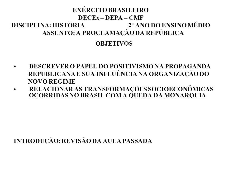 EXÉRCITO BRASILEIRO DECEx – DEPA – CMF DISCIPLINA: HISTÓRIA 2º ANO DO ENSINO MÉDIO ASSUNTO: A PROCLAMAÇÃO DA REPÚBLICA OBJETIVOS DESCREVER O PAPEL DO