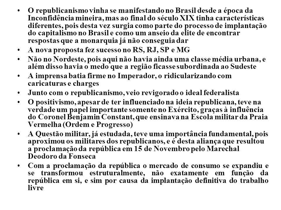 O republicanismo vinha se manifestando no Brasil desde a época da Inconfidência mineira, mas ao final do século XIX tinha características diferentes,