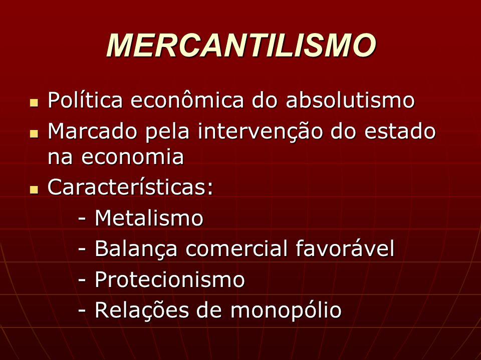 MERCANTILISMO Política econômica do absolutismo Política econômica do absolutismo Marcado pela intervenção do estado na economia Marcado pela interven