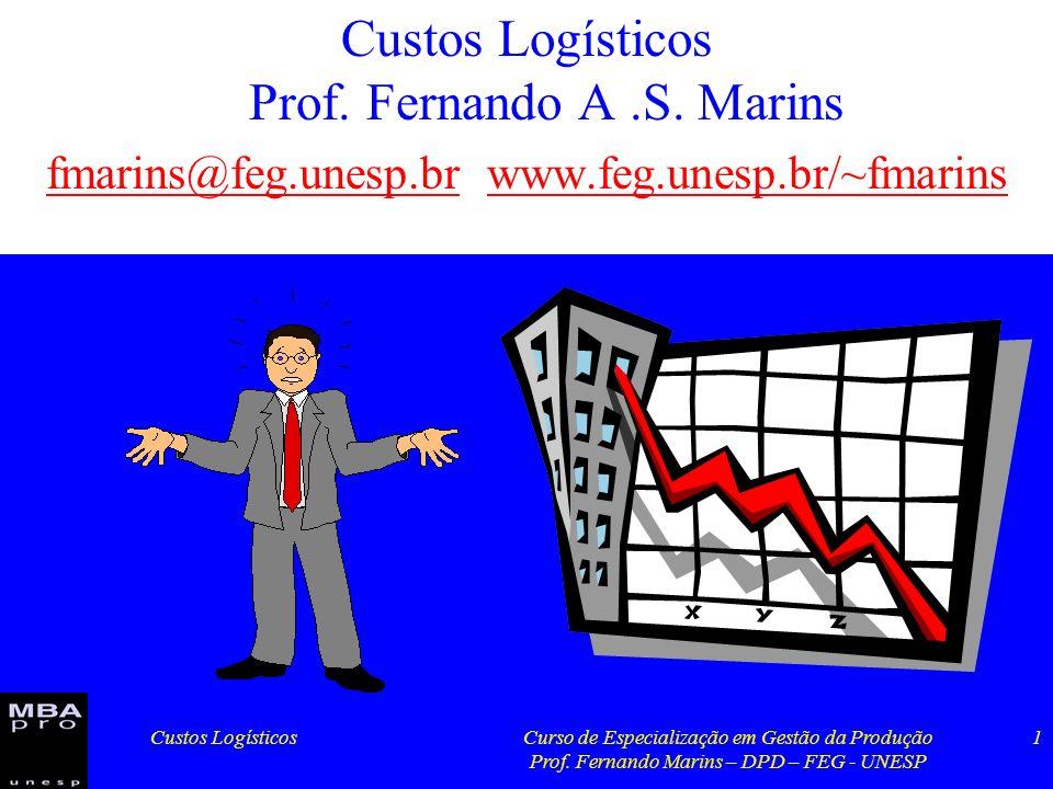 Custos LogísticosCurso de Especialização em Gestão da Produção Prof. Fernando Marins – DPD – FEG - UNESP 1 Custos Logísticos Prof. Fernando A.S. Marin