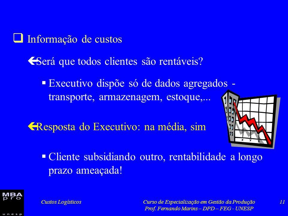 Custos LogísticosCurso de Especialização em Gestão da Produção Prof. Fernando Marins – DPD – FEG - UNESP 11 Informação de custos çSerá que todos clien