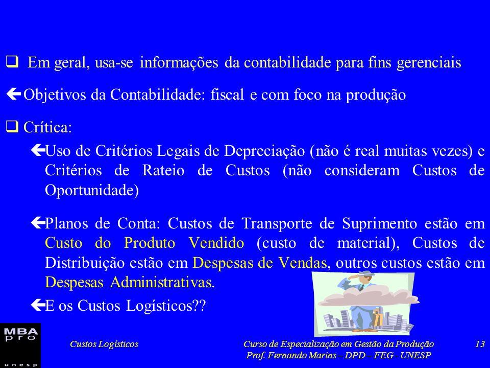 Custos LogísticosCurso de Especialização em Gestão da Produção Prof. Fernando Marins – DPD – FEG - UNESP 13 Em geral, usa-se informações da contabilid