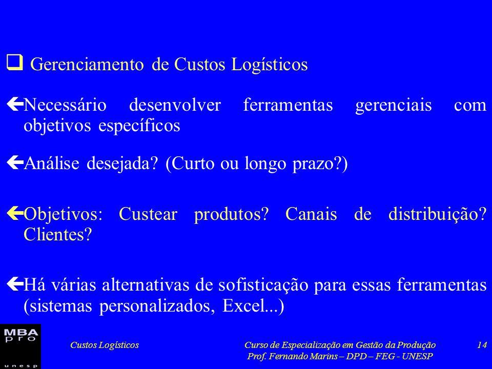 Custos LogísticosCurso de Especialização em Gestão da Produção Prof. Fernando Marins – DPD – FEG - UNESP 14 Gerenciamento de Custos Logísticos çNecess