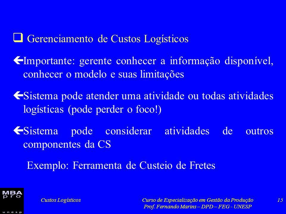 Custos LogísticosCurso de Especialização em Gestão da Produção Prof. Fernando Marins – DPD – FEG - UNESP 15 Gerenciamento de Custos Logísticos çImport