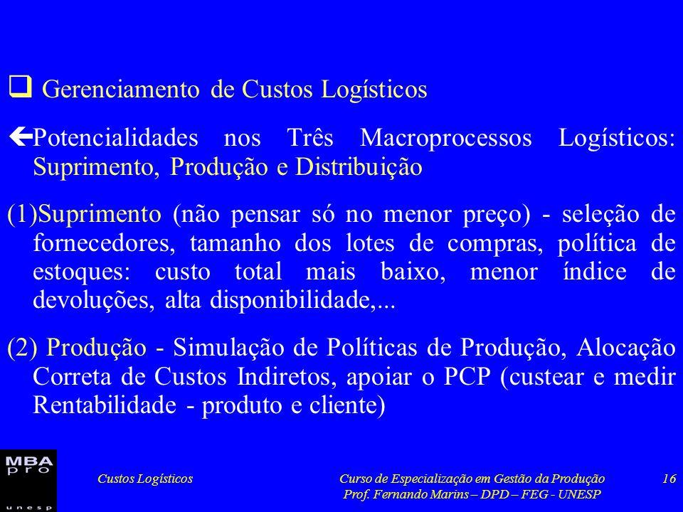 Custos LogísticosCurso de Especialização em Gestão da Produção Prof. Fernando Marins – DPD – FEG - UNESP 16 Gerenciamento de Custos Logísticos çPotenc