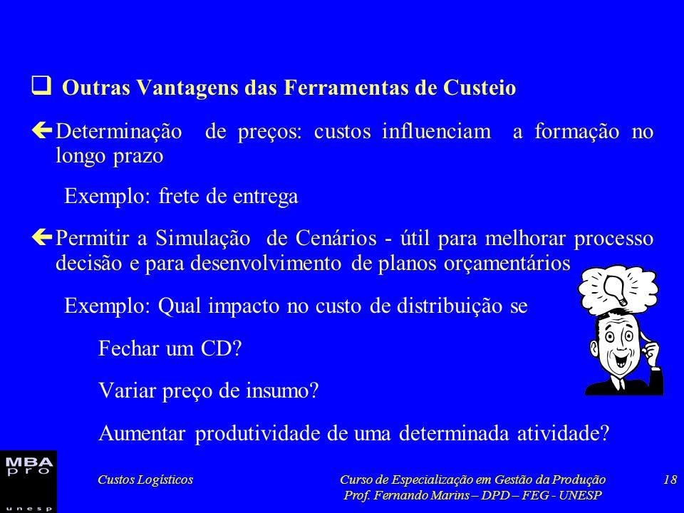 Custos LogísticosCurso de Especialização em Gestão da Produção Prof. Fernando Marins – DPD – FEG - UNESP 18 Outras Vantagens das Ferramentas de Custei