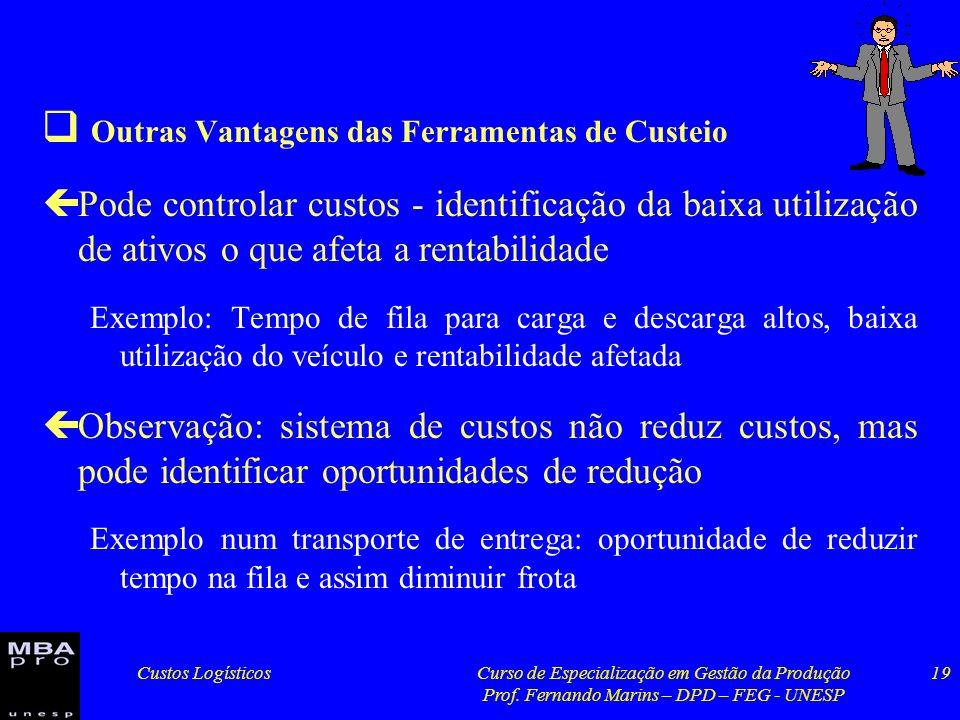 Custos LogísticosCurso de Especialização em Gestão da Produção Prof. Fernando Marins – DPD – FEG - UNESP 19 Outras Vantagens das Ferramentas de Custei