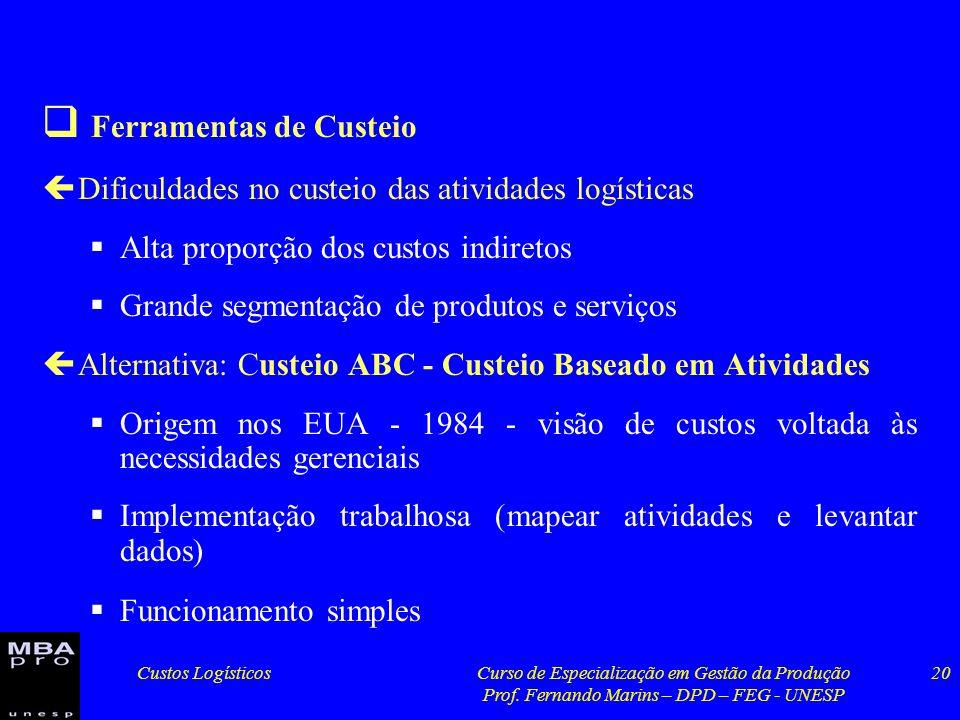 Custos LogísticosCurso de Especialização em Gestão da Produção Prof. Fernando Marins – DPD – FEG - UNESP 20 Ferramentas de Custeio çDificuldades no cu