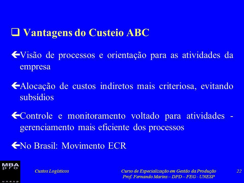 Custos LogísticosCurso de Especialização em Gestão da Produção Prof. Fernando Marins – DPD – FEG - UNESP 22 Vantagens do Custeio ABC çVisão de process