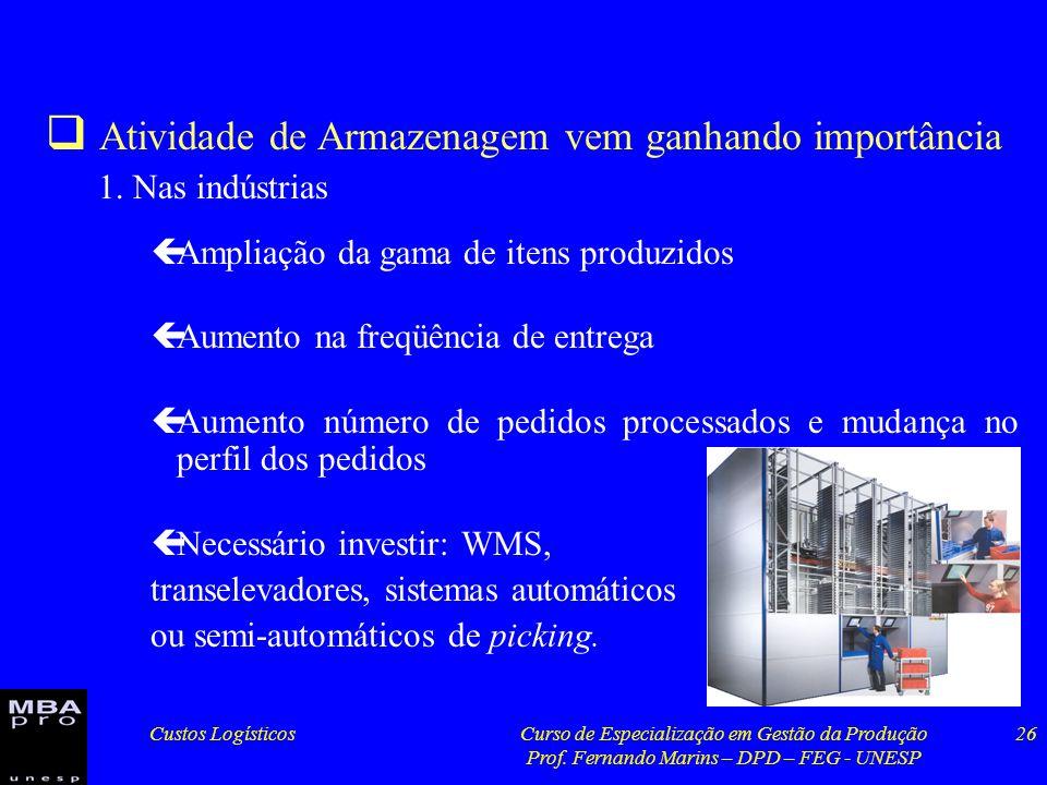 Custos LogísticosCurso de Especialização em Gestão da Produção Prof. Fernando Marins – DPD – FEG - UNESP 26 Atividade de Armazenagem vem ganhando impo
