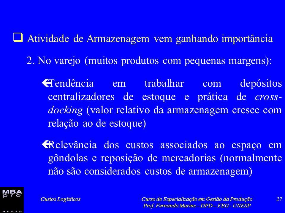 Custos LogísticosCurso de Especialização em Gestão da Produção Prof. Fernando Marins – DPD – FEG - UNESP 27 Atividade de Armazenagem vem ganhando impo