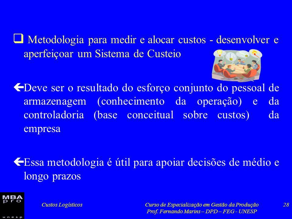 Custos LogísticosCurso de Especialização em Gestão da Produção Prof. Fernando Marins – DPD – FEG - UNESP 28 Metodologia para medir e alocar custos - d