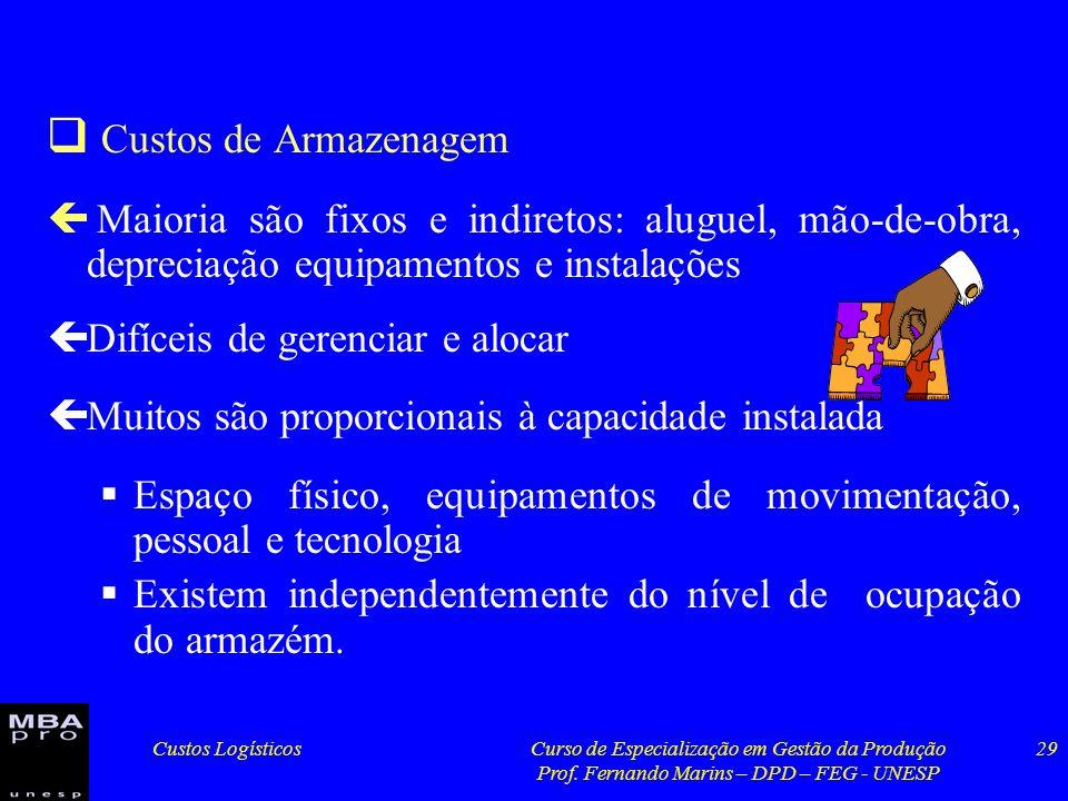 Custos LogísticosCurso de Especialização em Gestão da Produção Prof. Fernando Marins – DPD – FEG - UNESP 29 Custos de Armazenagem ç Maioria são fixos