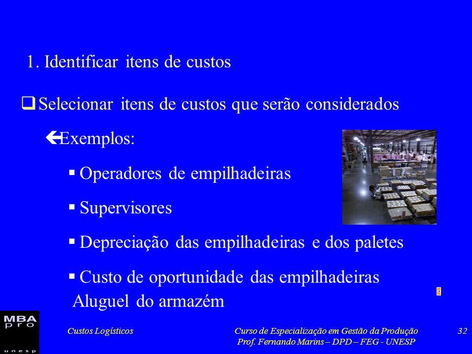 Custos LogísticosCurso de Especialização em Gestão da Produção Prof. Fernando Marins – DPD – FEG - UNESP 32 1. Identificar itens de custos Selecionar