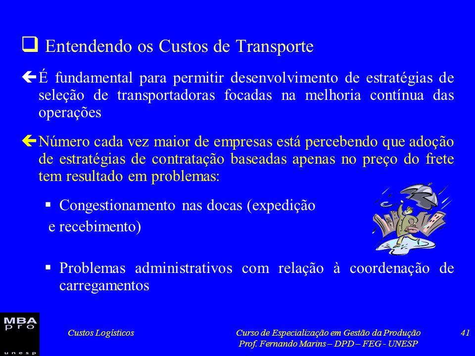 Custos LogísticosCurso de Especialização em Gestão da Produção Prof. Fernando Marins – DPD – FEG - UNESP 41 Entendendo os Custos de Transporte çÉ fund