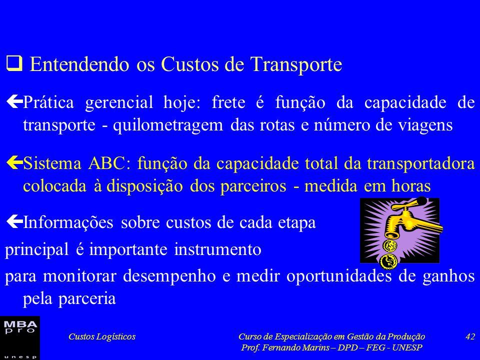 Custos LogísticosCurso de Especialização em Gestão da Produção Prof. Fernando Marins – DPD – FEG - UNESP 42 Entendendo os Custos de Transporte çPrátic