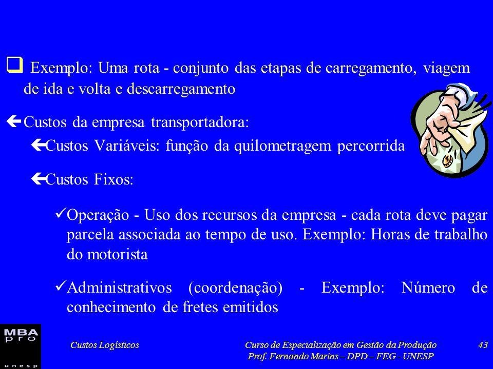Custos LogísticosCurso de Especialização em Gestão da Produção Prof. Fernando Marins – DPD – FEG - UNESP 43 Exemplo: Uma rota - conjunto das etapas de