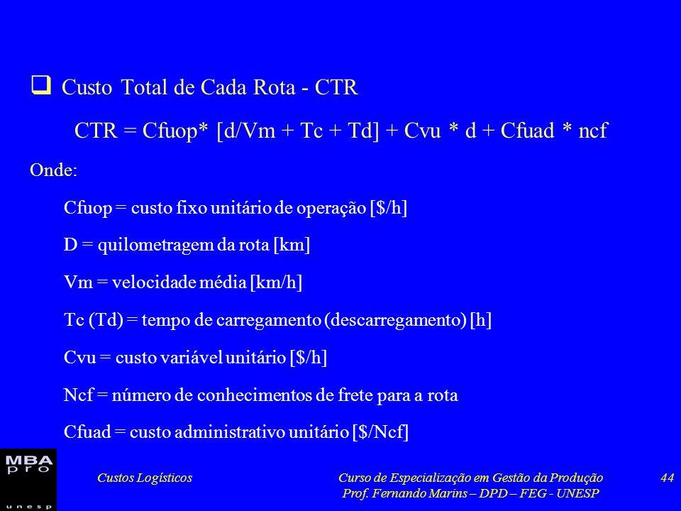 Custos LogísticosCurso de Especialização em Gestão da Produção Prof. Fernando Marins – DPD – FEG - UNESP 44 Custo Total de Cada Rota - CTR CTR = Cfuop