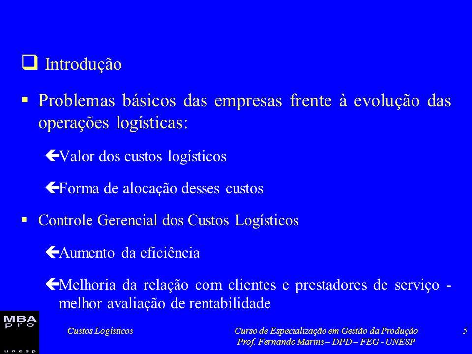 Custos LogísticosCurso de Especialização em Gestão da Produção Prof. Fernando Marins – DPD – FEG - UNESP 5 Introdução Problemas básicos das empresas f