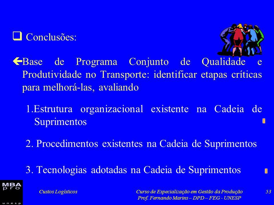 Custos LogísticosCurso de Especialização em Gestão da Produção Prof. Fernando Marins – DPD – FEG - UNESP 53 Conclusões: çBase de Programa Conjunto de