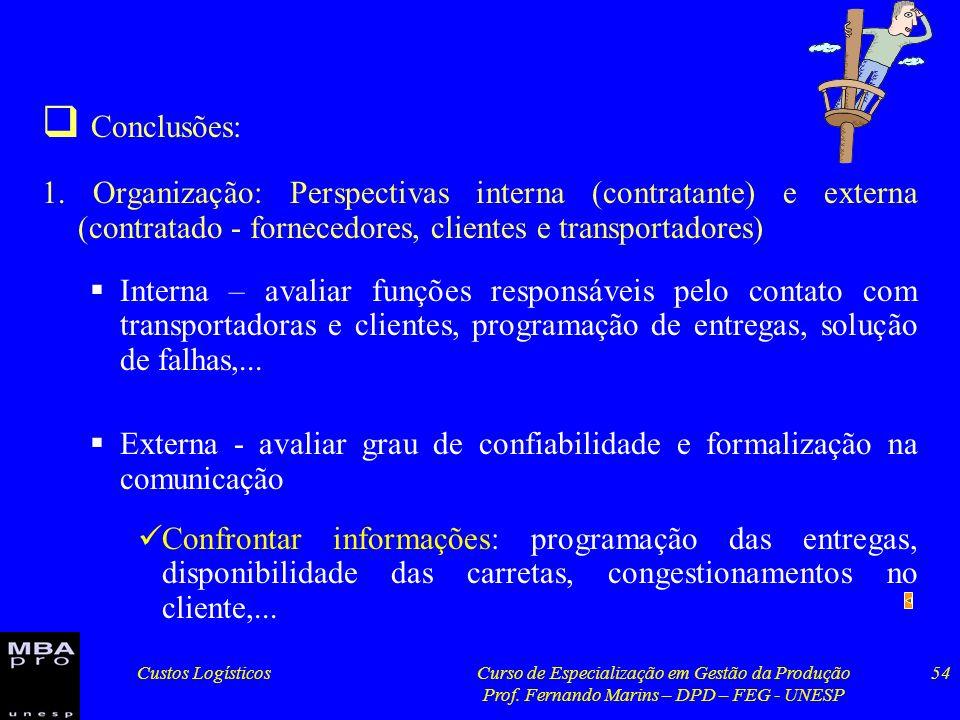Custos LogísticosCurso de Especialização em Gestão da Produção Prof. Fernando Marins – DPD – FEG - UNESP 54 Conclusões: 1. Organização: Perspectivas i