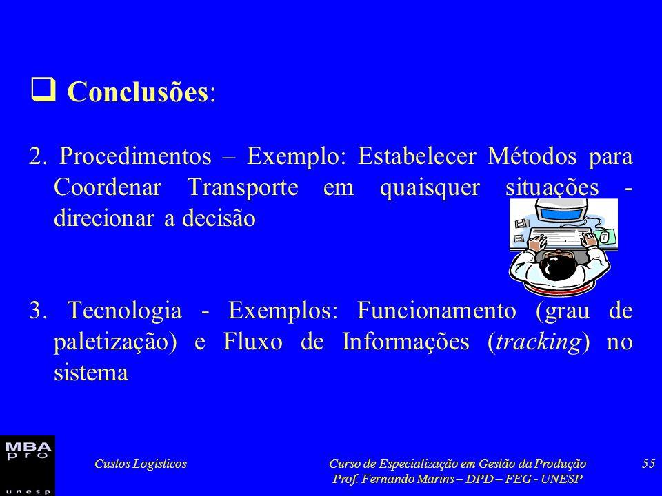 Custos LogísticosCurso de Especialização em Gestão da Produção Prof. Fernando Marins – DPD – FEG - UNESP 55 Conclusões: 2. Procedimentos – Exemplo: Es