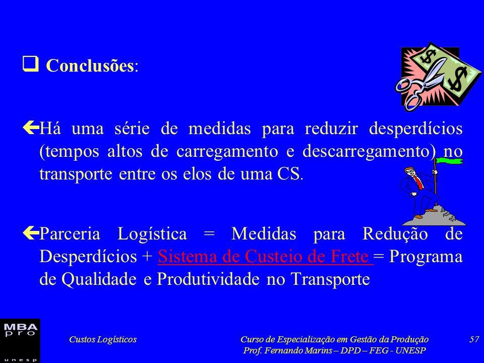 Custos LogísticosCurso de Especialização em Gestão da Produção Prof. Fernando Marins – DPD – FEG - UNESP 57 Conclusões: çHá uma série de medidas para
